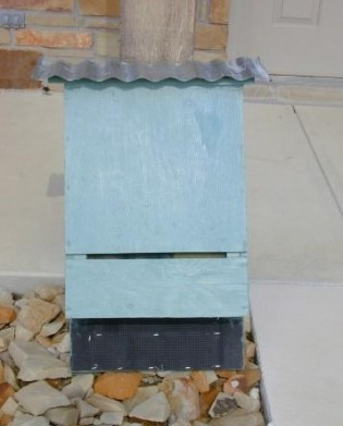 Nursery Style Bat Box with Corrugated Metal Roof.